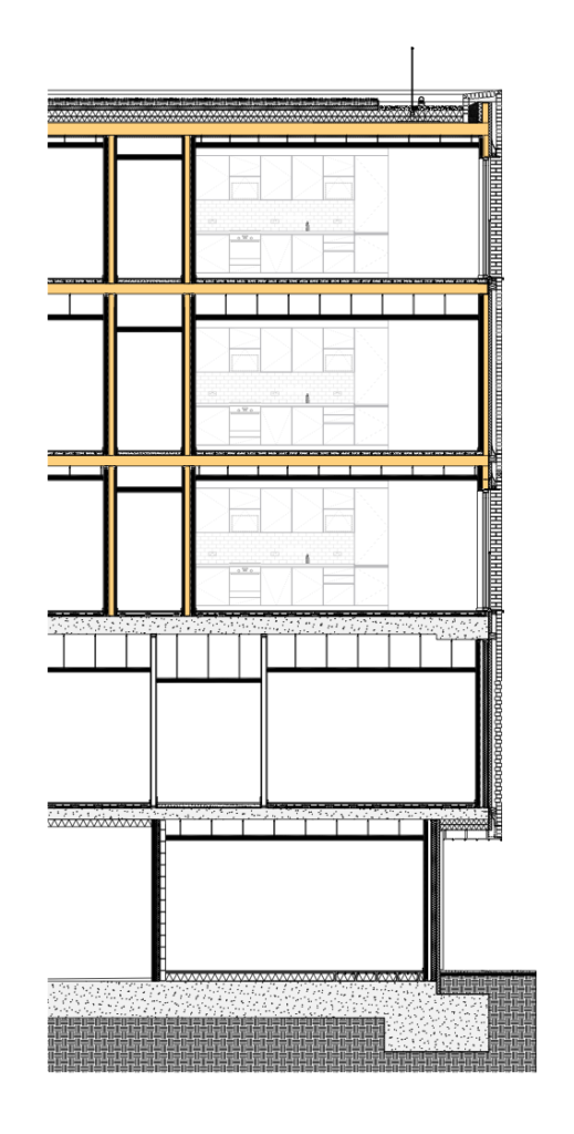 Detail section drawing of the hybrid timber structure.