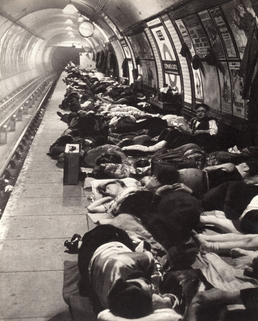 Londoners sheltering at Elephant and Castle tube station during the Blitz.