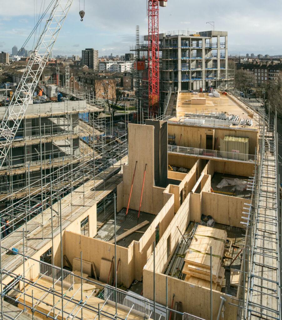 The CLT buildings at Trafalgar Place under construction.