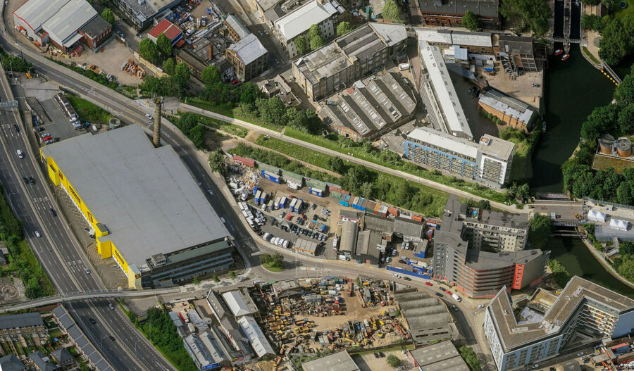 A bird's eye view of the industrial land pre-development